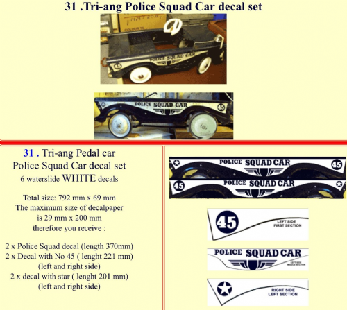 31 Tri-ang Police Squad Car decal set